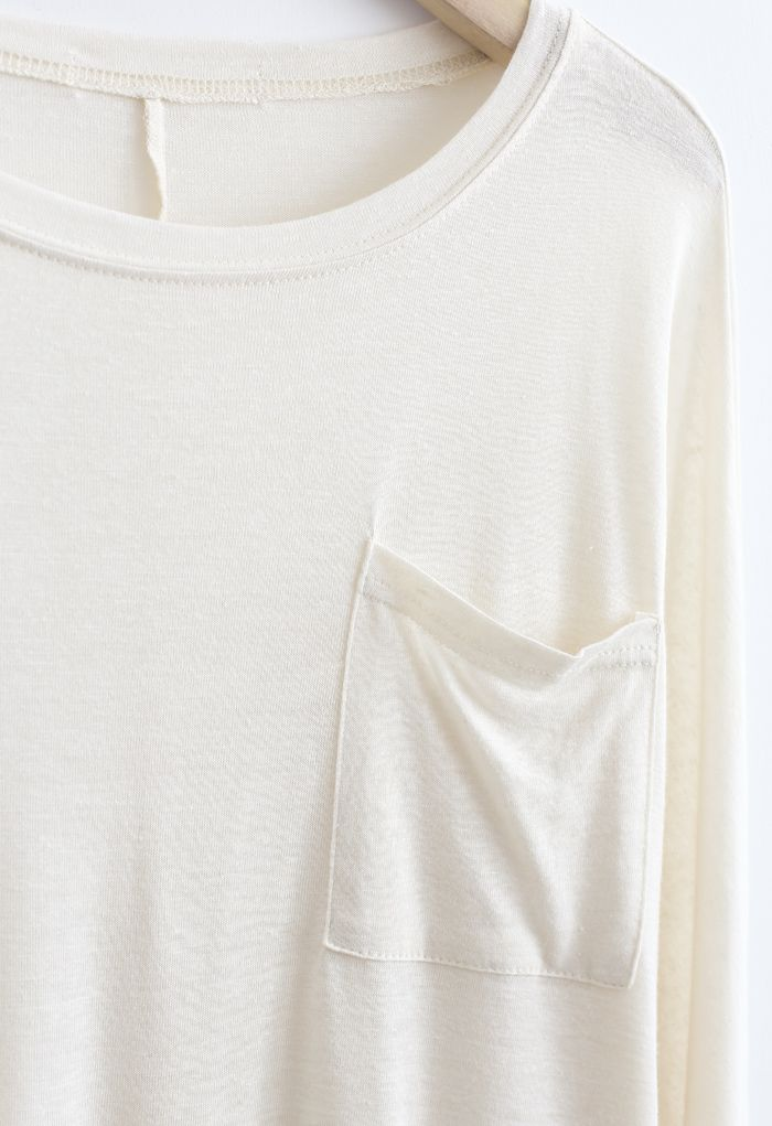 Long Sleeve Oversize T-Shirt in Ivory