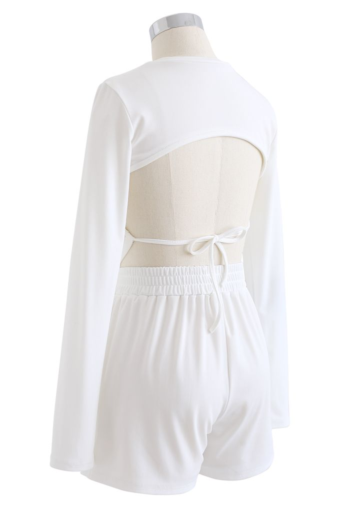 Cutout Tie Back Crop Top and Shorts Set in White