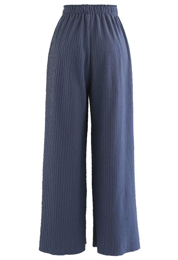 Zigzag Embossed Wide-Leg Pants in Blue