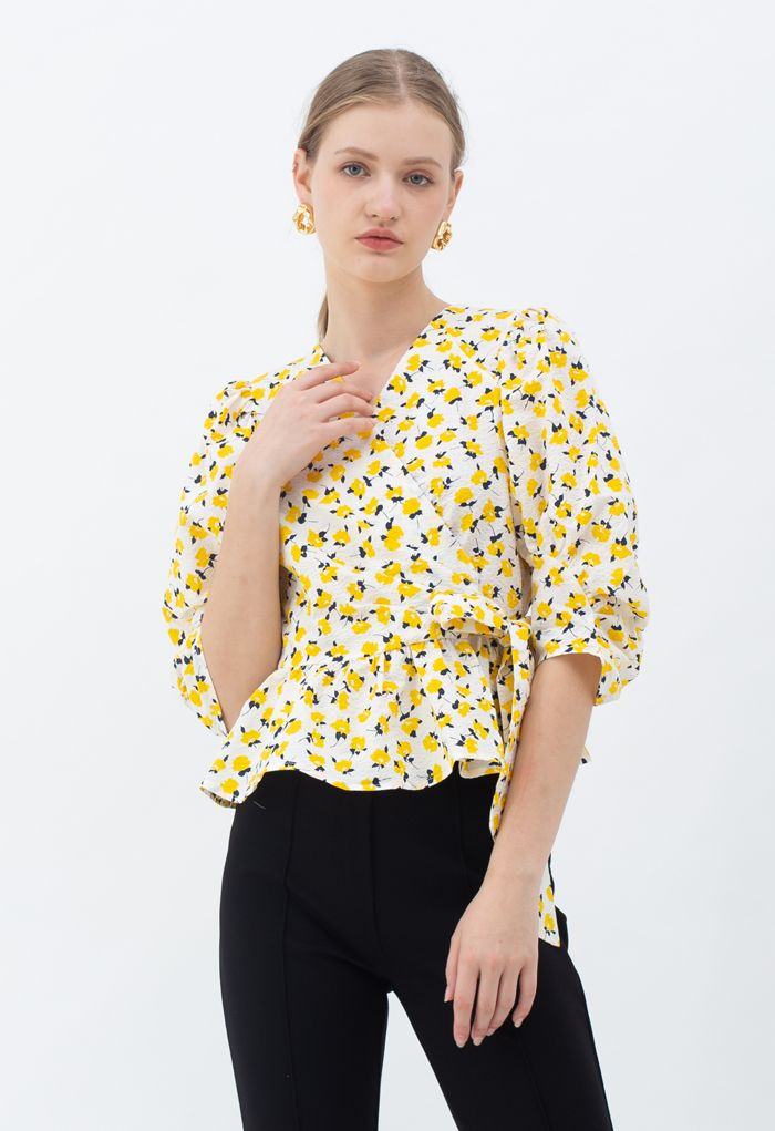 Yellow Floral Tie Waist Ruffle Wrap Top