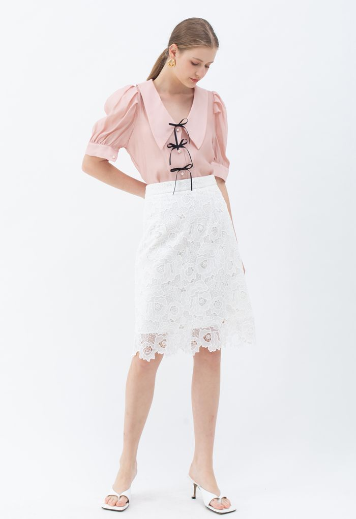 Collared Bowknot Buttoned Shirt in Pink