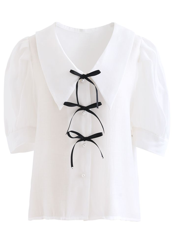 Collared Bowknot Buttoned Shirt in White
