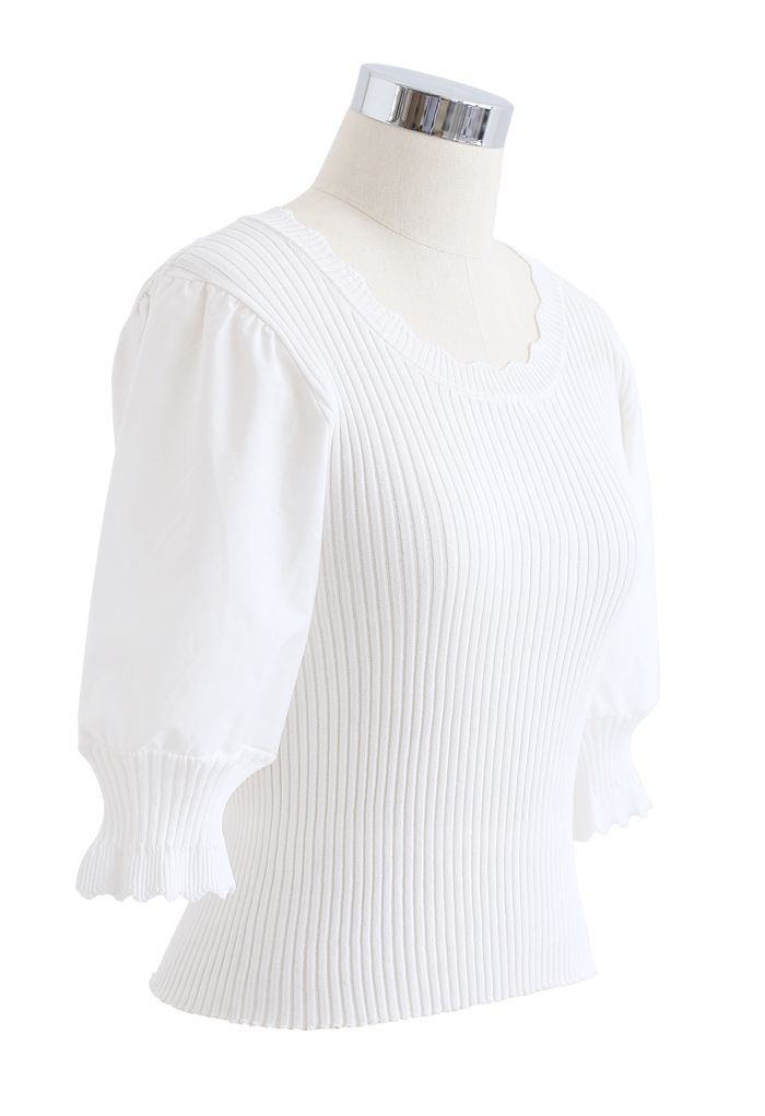 Spliced Mid Sleeve Fitted Knit Top in White