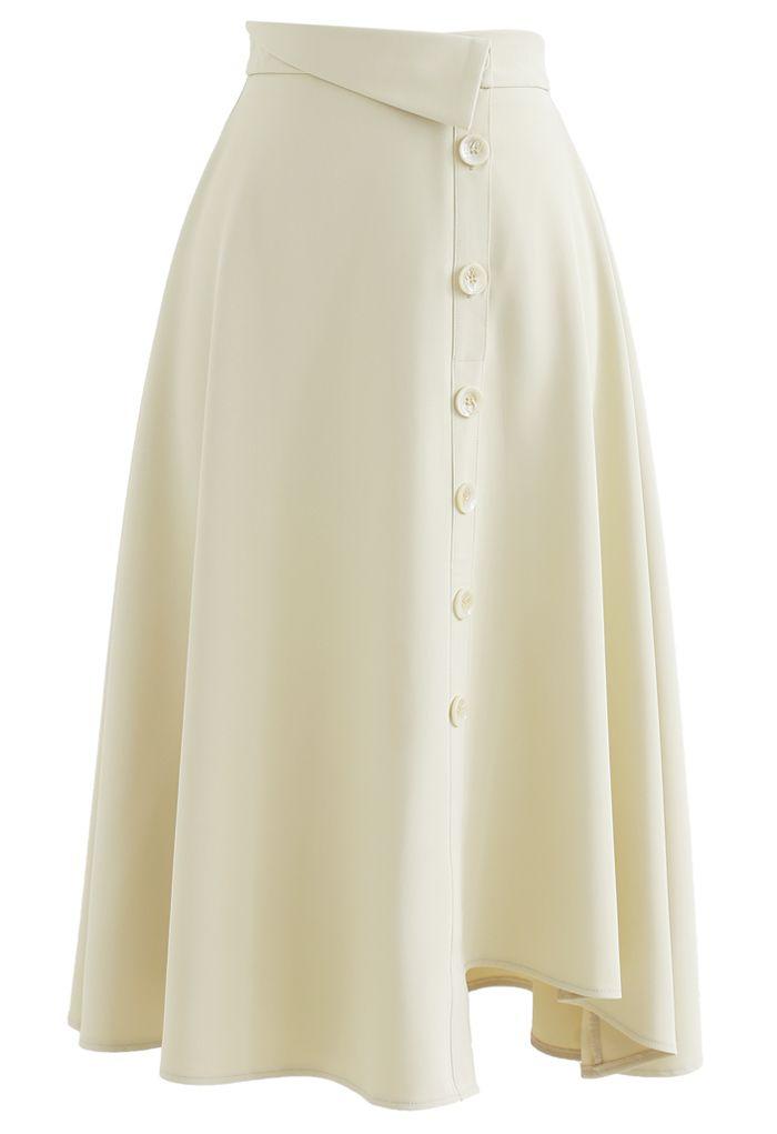 Button Decorated Asymmetric Midi Skirt in Cream