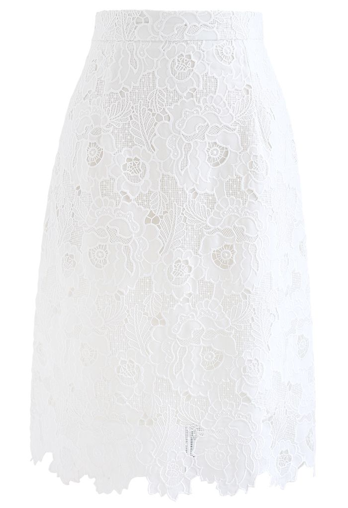 Blooming Peony Full Crochet Pencil Skirt in White