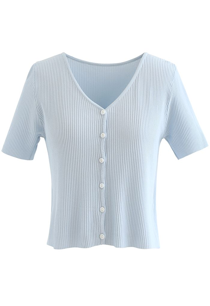 Buttoned V-Neck Short Sleeve Rib Knit Top in Baby blue