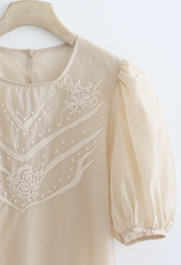 Semi-Sheer Mid Sleeve Embroidered Top in Light Tan