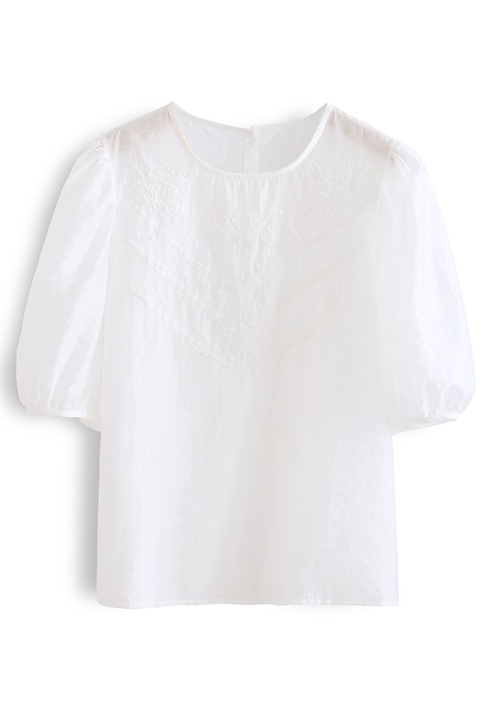 Semi-Sheer Mid Sleeve Embroidered Top in White
