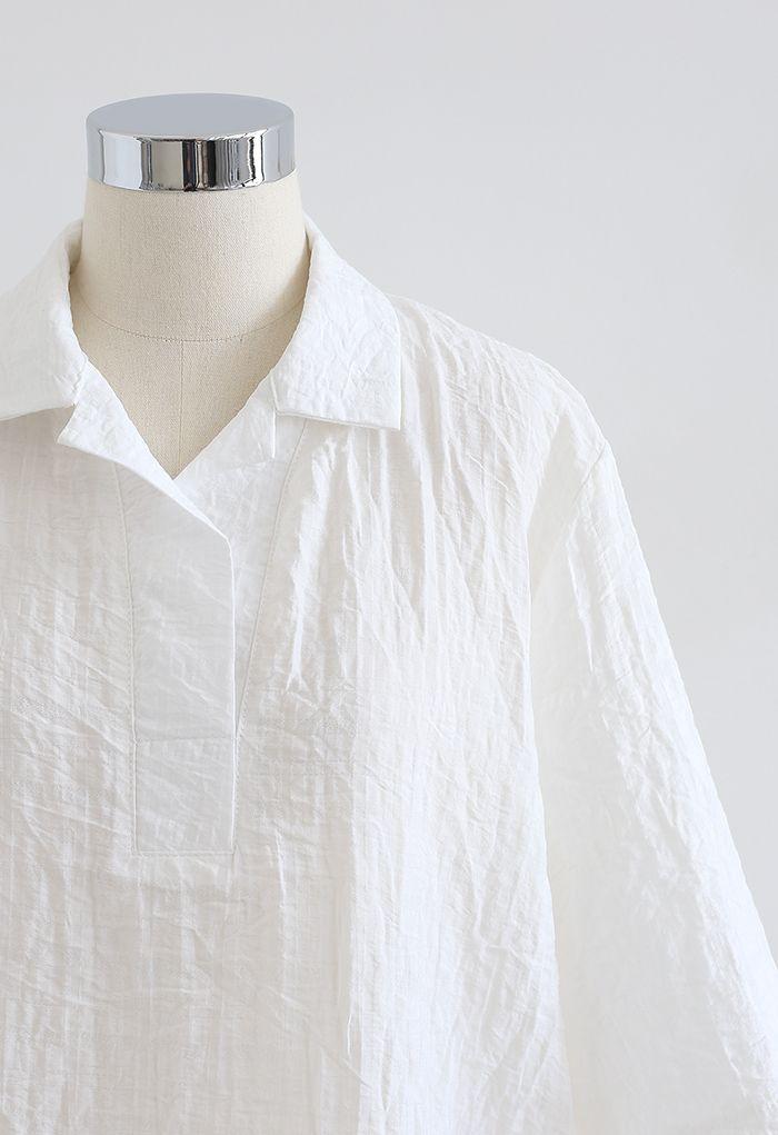 Plaid Jacquard V-Neck Loose Shirt