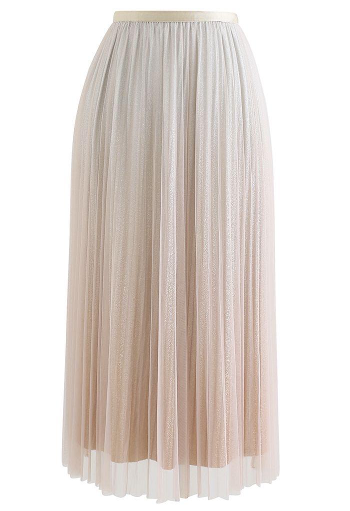 Gradient Shimmer Lining Pleated Mesh Skirt in Cream