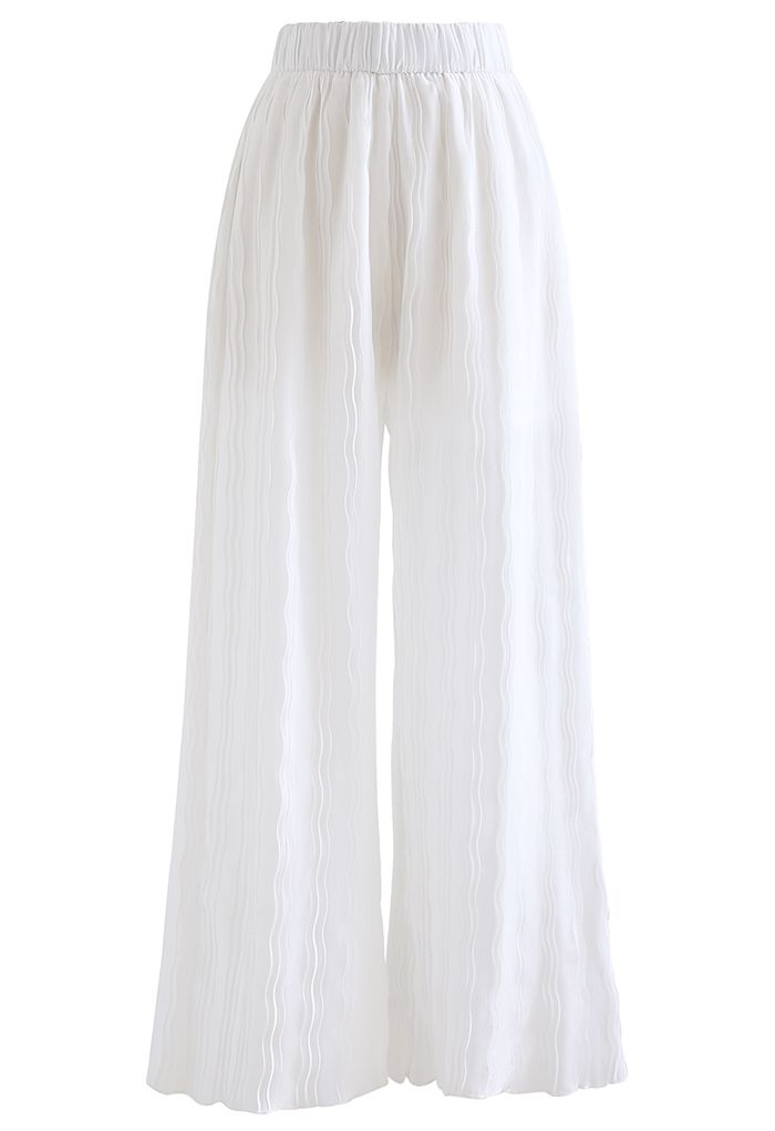 Ripple Pleated Wide Leg Pants in White