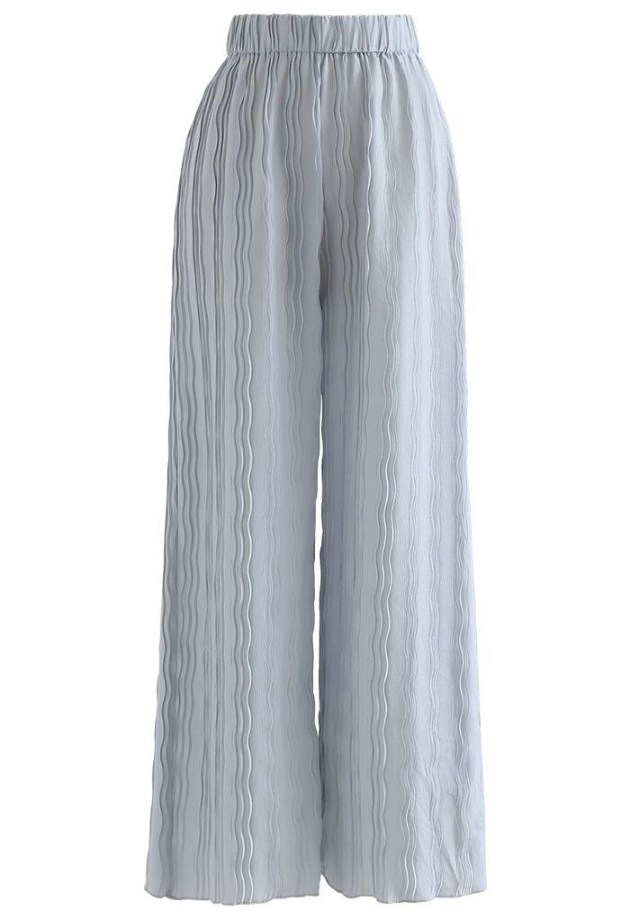 Ripple Pleated Wide Leg Pants in Dusty Blue