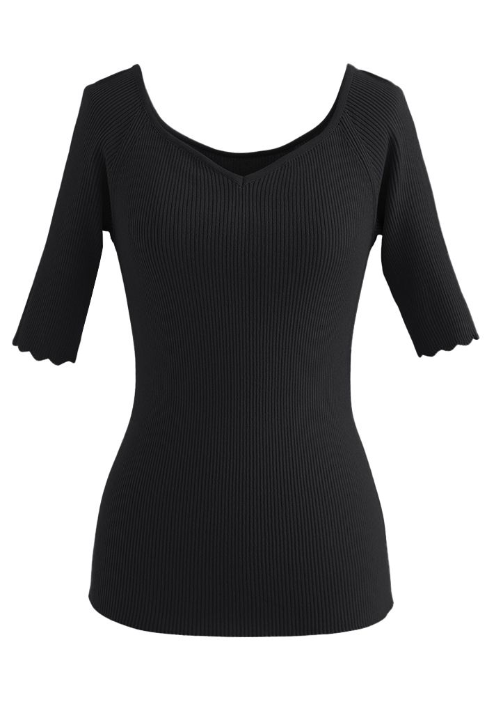 Sweetheart Neck Fitted Knit Top in Black