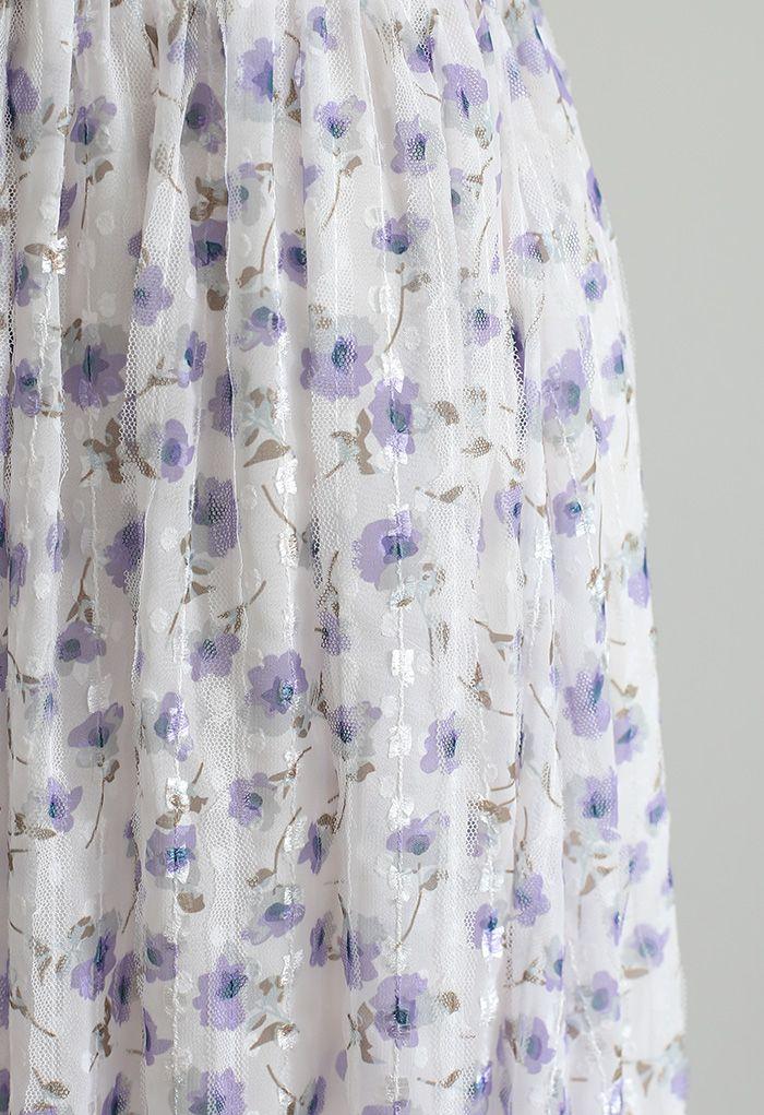 Striped Mesh Floret Midi Skirt in Purple