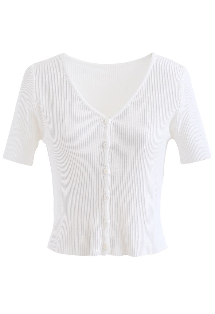 Buttoned V-Neck Short Sleeve Rib Knit Top in White