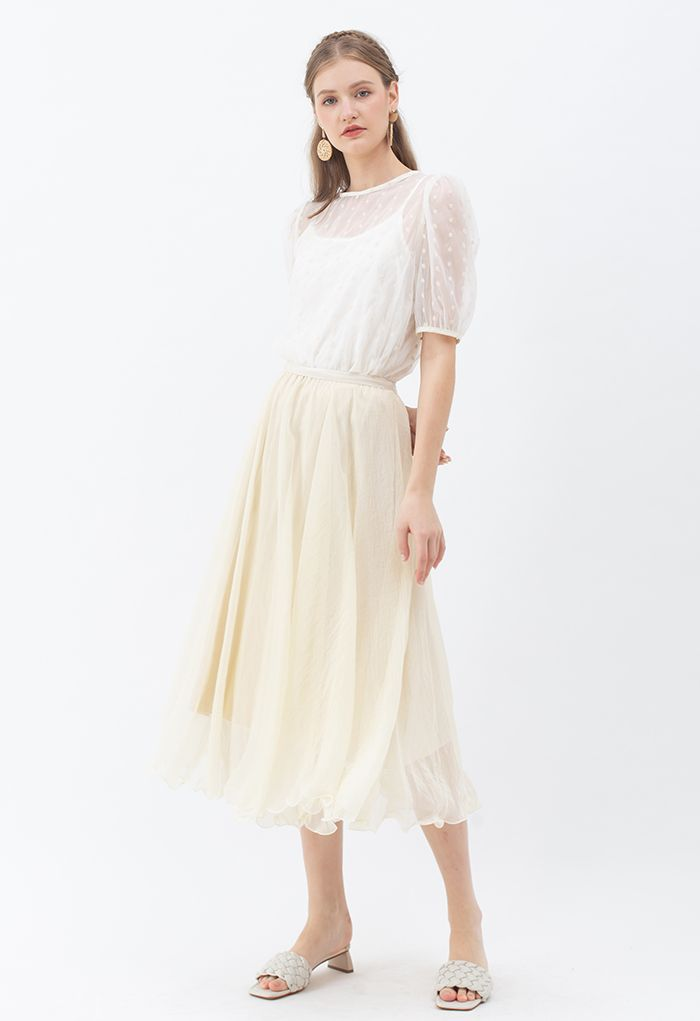 Embroidered Daisy Eyelet Sheer Top in White