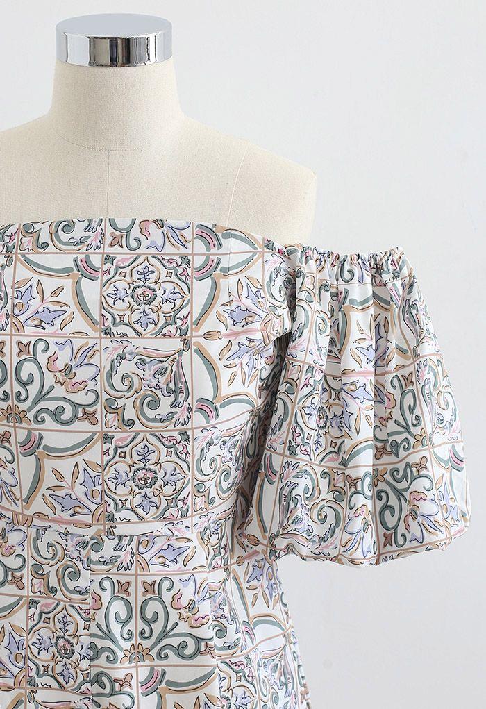 Grid Paisley Floral Off-Shoulder Playsuit