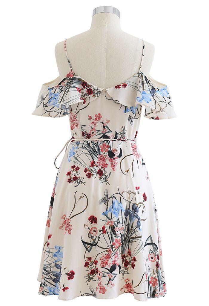 Wild Flowers Printed Asymmetric Wrapped Cami Dress