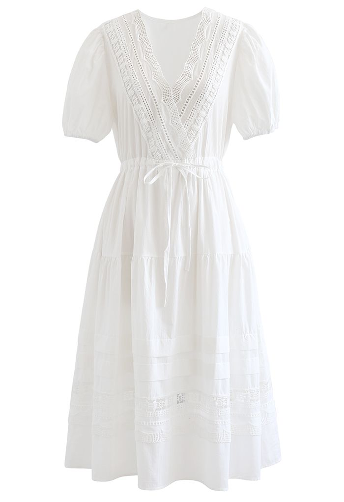 Lace Inserted Bubble Sleeves Wrapped Midi Dress in White