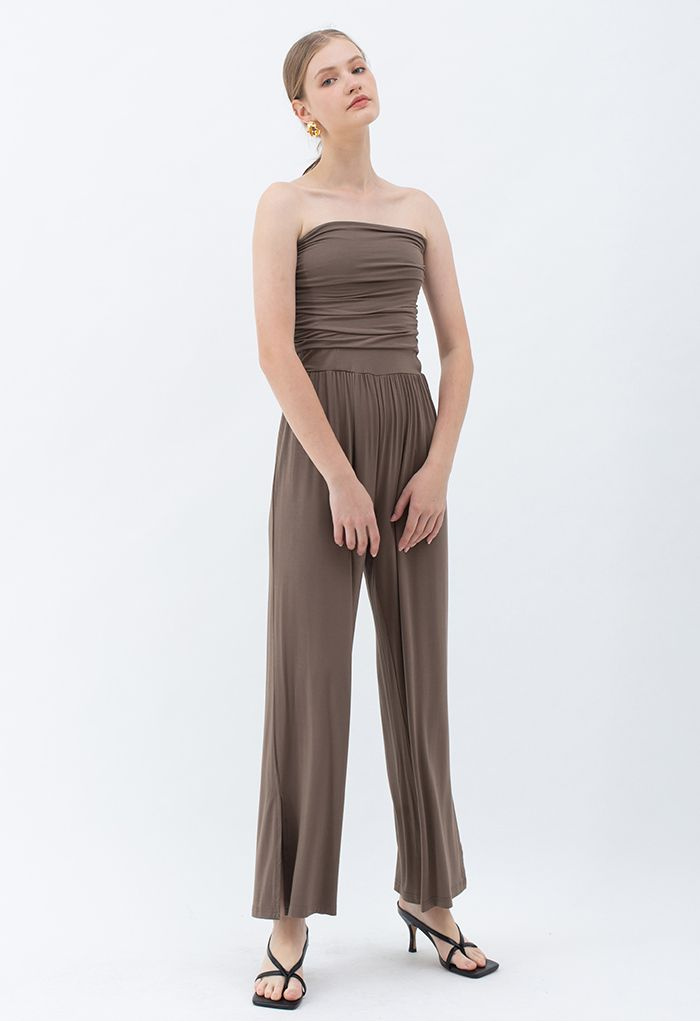 Ruched Front Soft Touch Slit Jumpsuit in Brown
