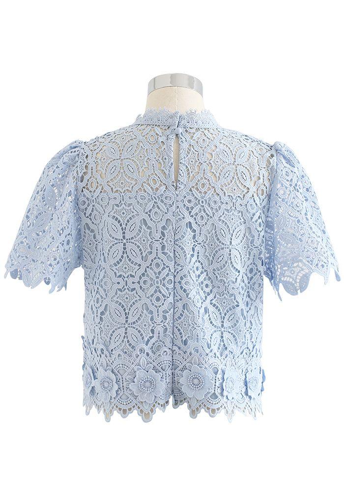 3D Flower Full Crochet Crop Top in Blue