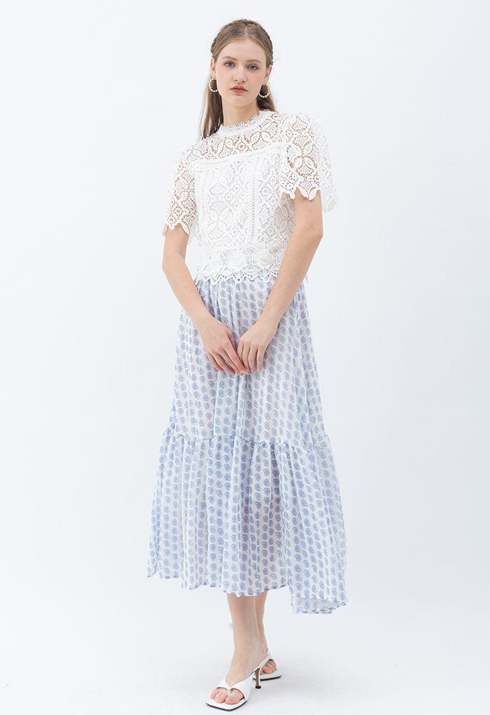 3D Flower Full Crochet Crop Top in White