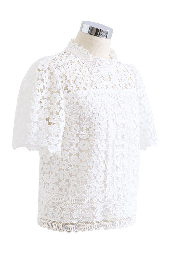 Summer Daisy Full Crochet Crop Top in White