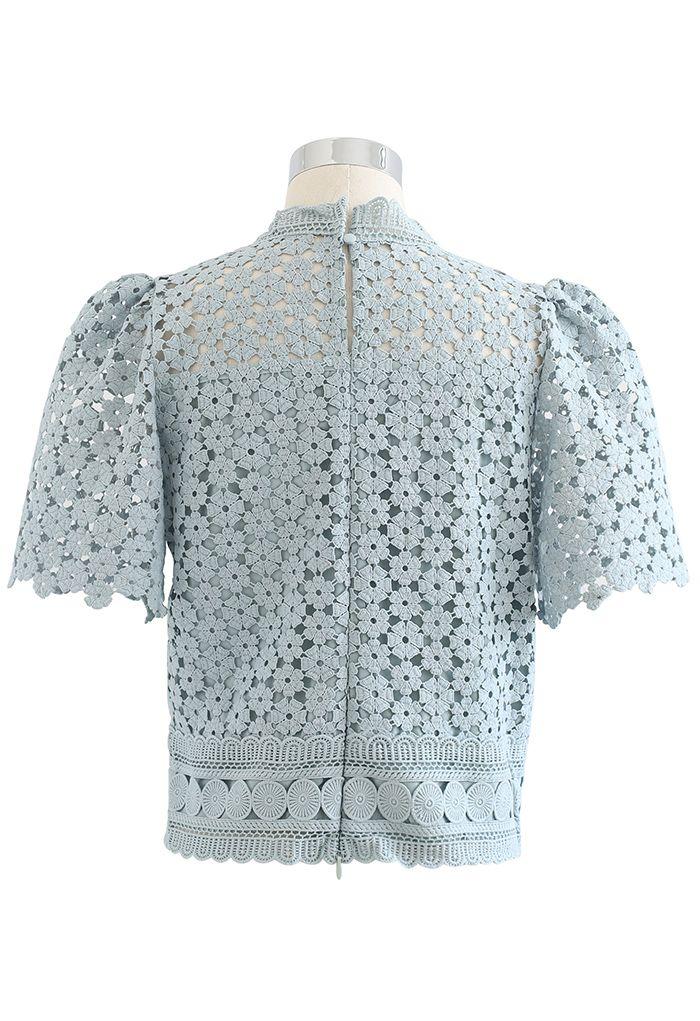 Summer Daisy Full Crochet Crop Top in Teal