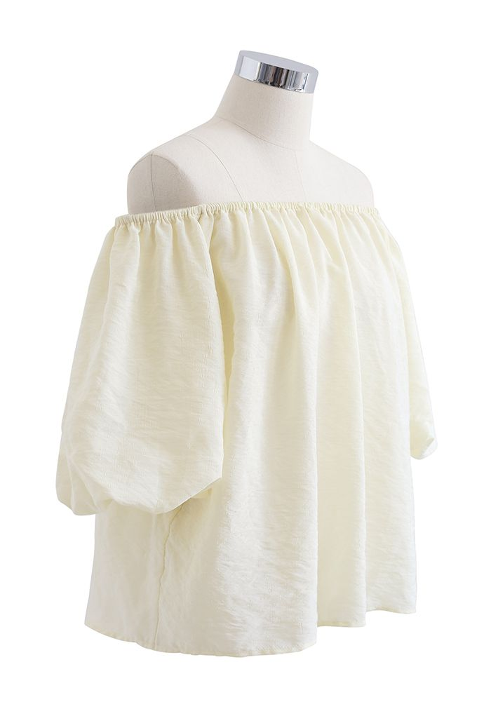 Pastel Color Bubble Sleeves Off-Shoulder Top in Light Yellow