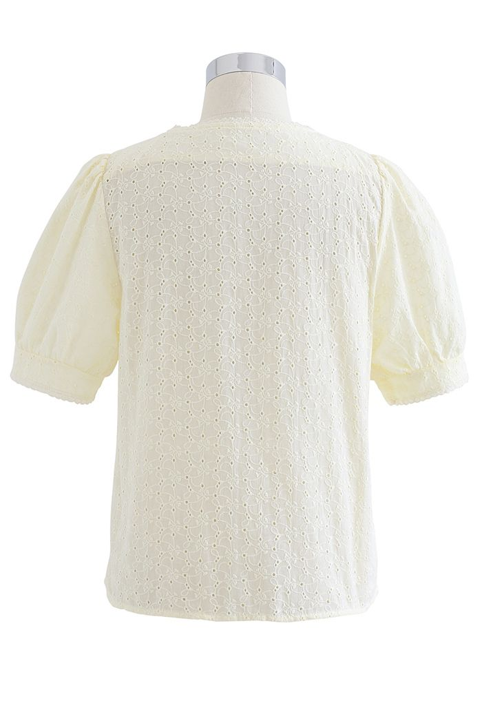 V-Neck Buttoned Eyelet Cotton Top in Light Yellow