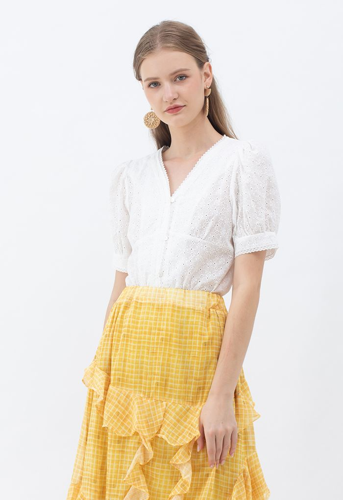 V-Neck Buttoned Eyelet Cotton Top in White