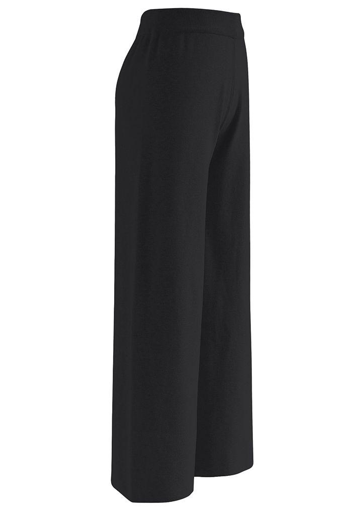 Neutral Wide Leg Knit Pants in Black