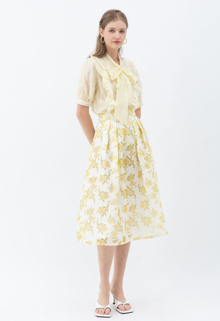 Flowy Ruffle Bow Neck Mid Sleeve Shirt in Yellow