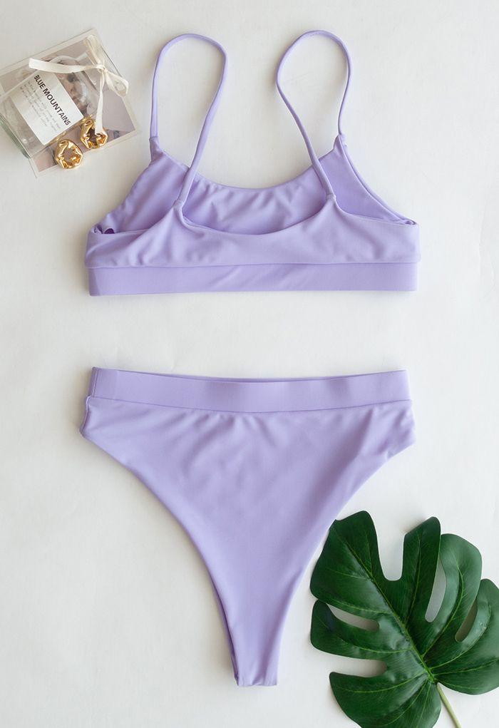Colorful Sequin Cami Bikini Set in Lilac