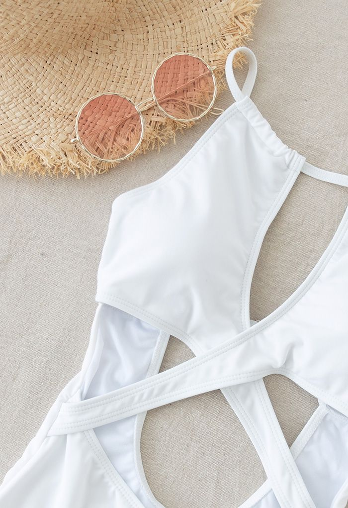 Cross Front Cutout Cami Swimsuit in White