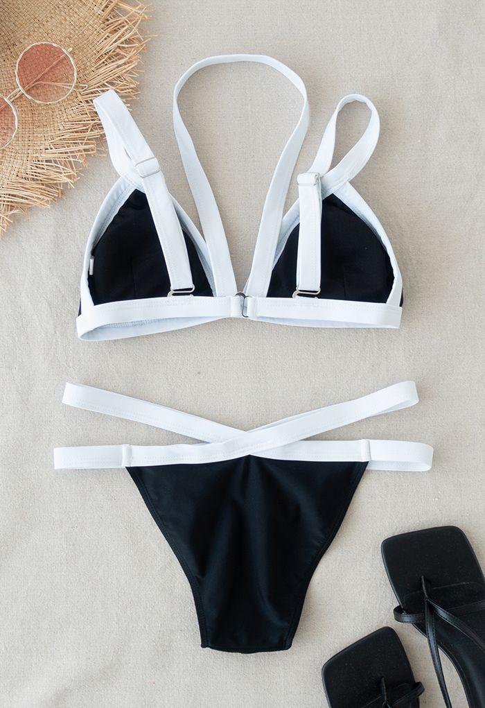 Contrast Stripe Halter Bikini Set