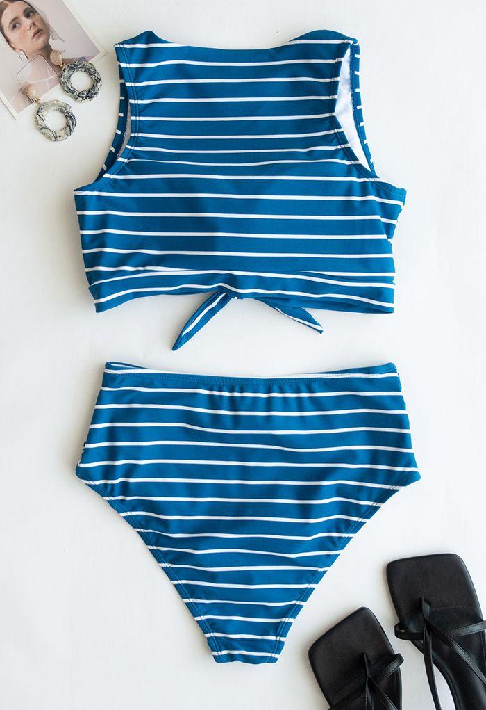 Striped Bowknot High-Waisted Bikini Set