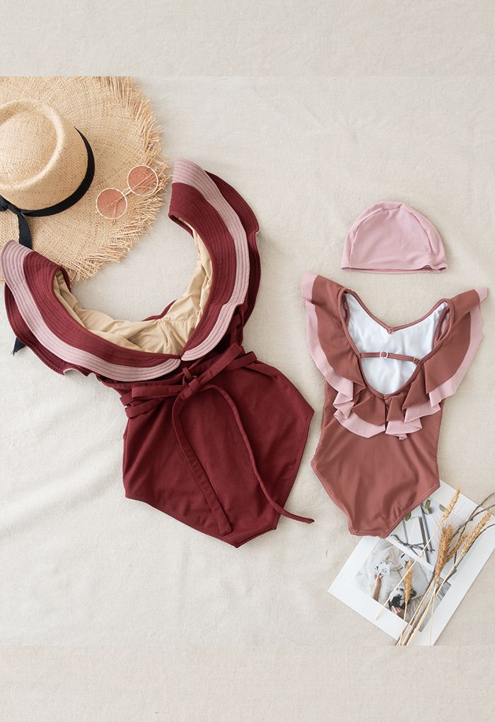 Ruffled Neck One-Piece Swimsuit in Wine for Mommy & Kids