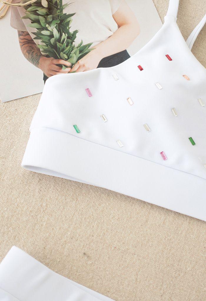 Colorful Sequin Cami Bikini Set in White