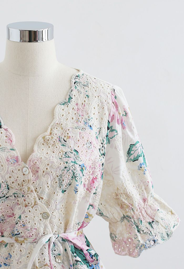 Buttoned Surplice Neck Embroidered Floral Top in Ivory