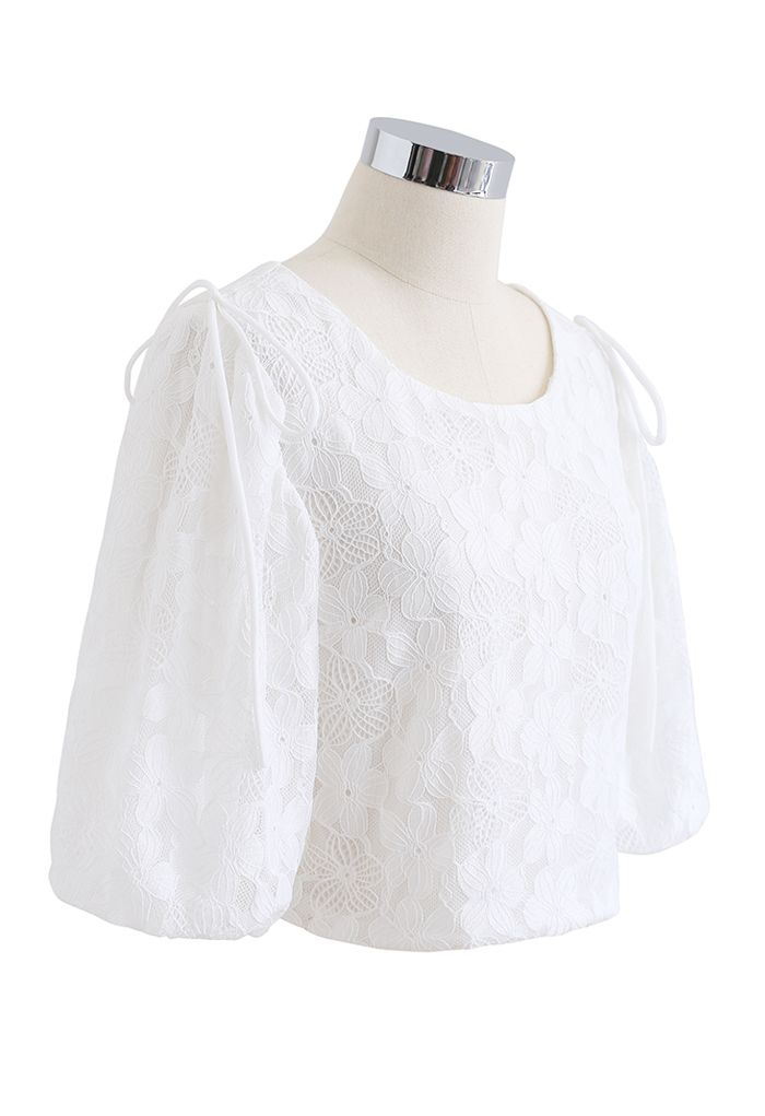 Soft Touch Lace Puff Sleeve Cropped Top in White