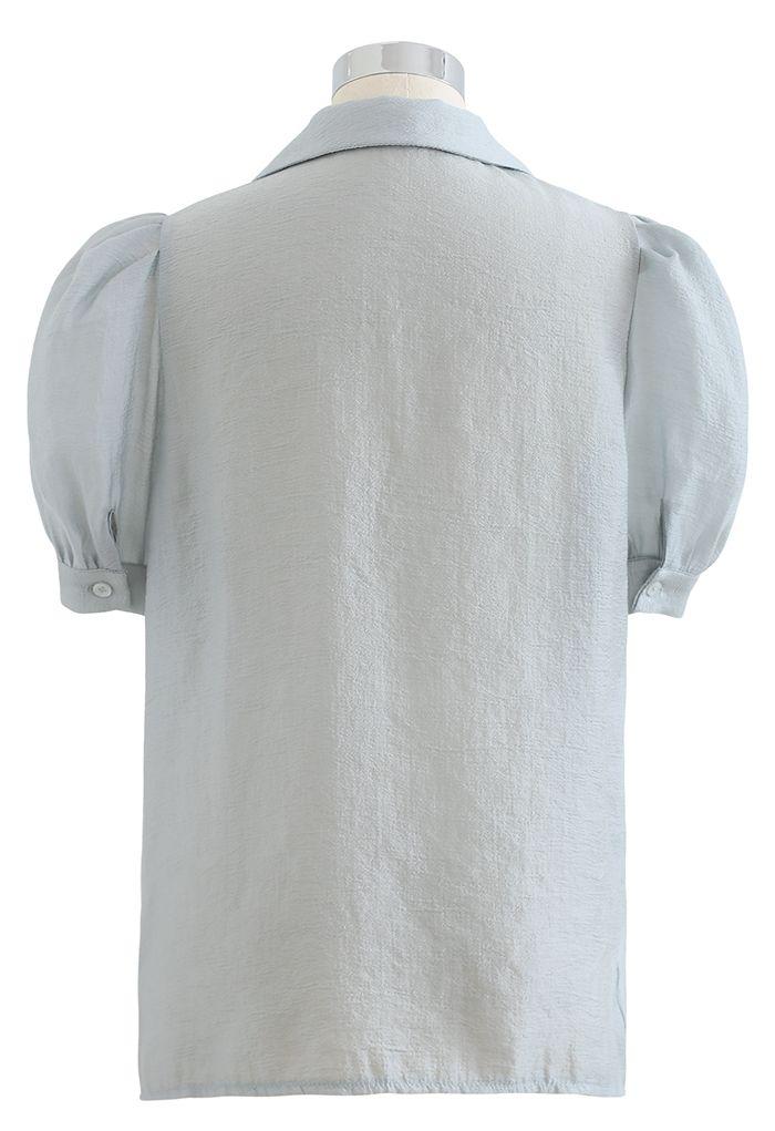 Notch Collar Flap Pocket Buttoned Shirt in Dusty Blue