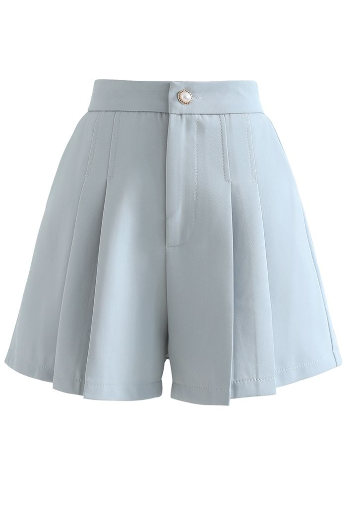 Side Pocket Pleated Shorts in Blue