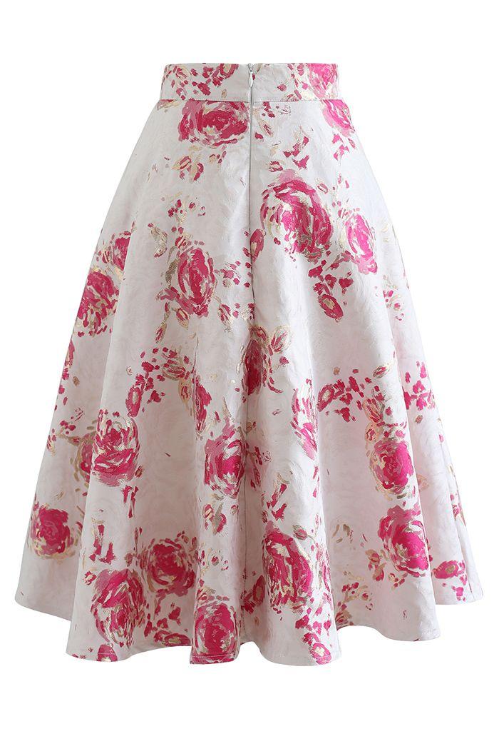Reddish Rose Jacquard A-Line Midi Skirt