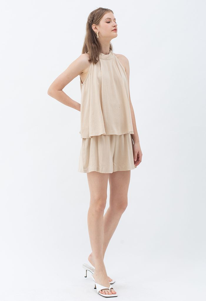 Halter Neck Flared Top and Shorts Set in Sand