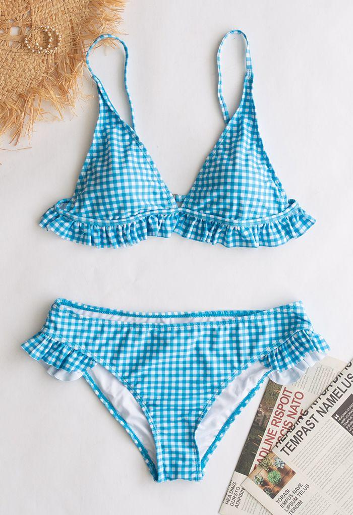 Gingham Printed Ruffle Bikini Set