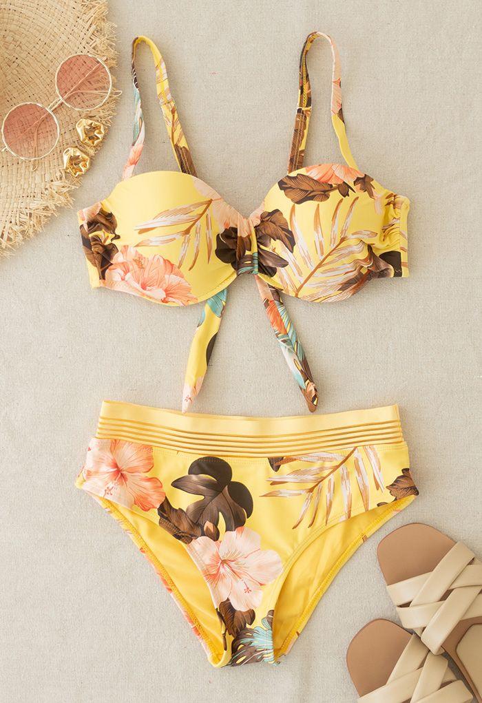 Tropical Leaves Print Bustier Bikini Set in Yellow