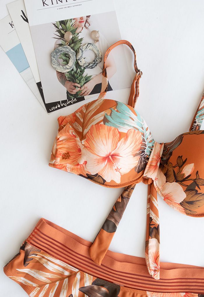 Tropical Leaves Print Bustier Bikini Set in Orange