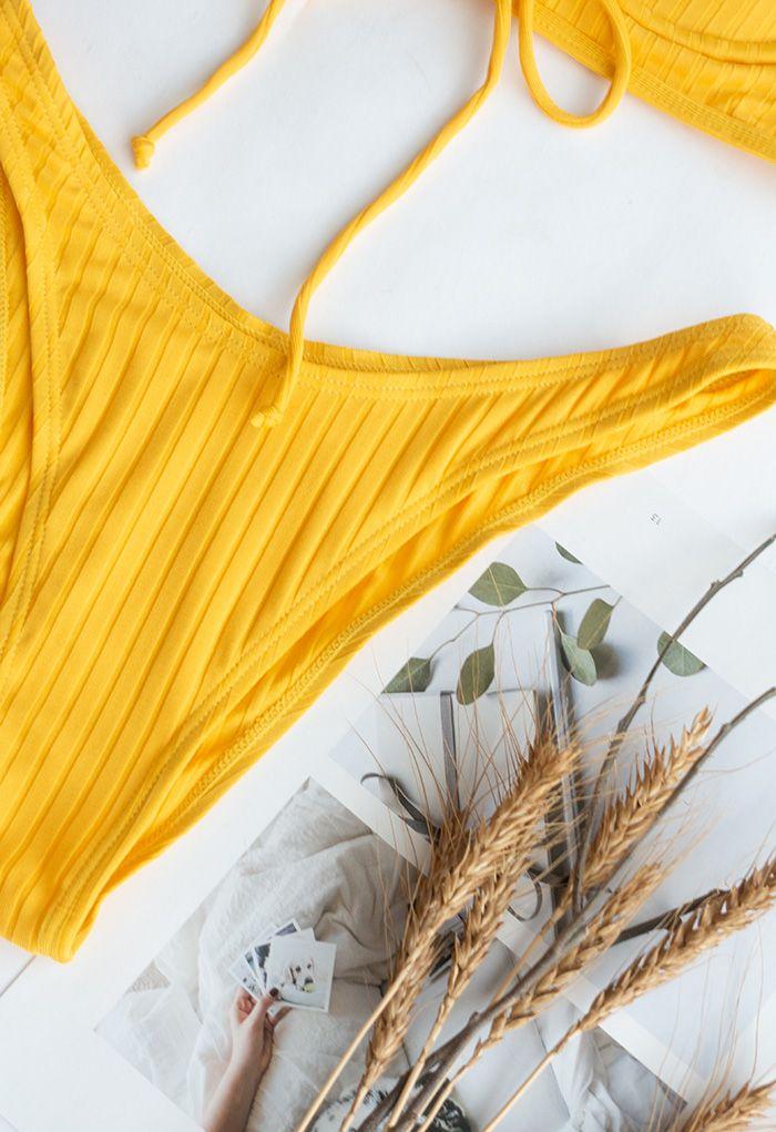 Low-Rise Strapped Bikini Set in Yellow