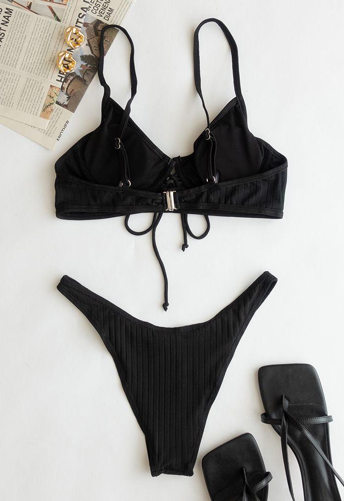 Low-Rise Strapped Bikini Set in Black